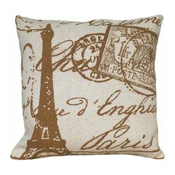 Paris & Eiffel Tower Brown Hand Printed on Cream Linen Pillow - Pretty Eiffel Tower, Paris and postage stamps hand printed on cream colored linen.  Warm brown tone on cream color.