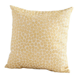 Cyan Design - Cyan Design Geranium Pillow X-63560 - A close-up pattern inspired by the geranium flower helps to give a visual textured look to this Cyan Design pillow. This geranium pillow also features warm tones of golden wheat, complimented by a cream backdrop. The petals are arranged in a natural formation, completing the look.
