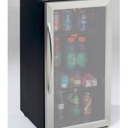 "Avanti - 3.1cf Beverage Cooler SS OB - Avanti 3.1 Cubic Foot Auto Defrost All Refrigerator/Beverage Center with Modern design that complements any decor  Stylish black cabinet with stainless steel framed double-paned tempered glass door  Stainless steel handle  Full range temperature control  Reversible door  Interior light  Adjustable/Removable shelves  17""W x 33""H x 20.5""D (w/handle)  55 lbs.  This item cannot be shipped to APO/FPO addresses. Please accept our apologies."