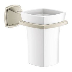 Grohe - Grohe 40626EN0 Grandera 1-Hole Wall Mount Ceramic Tumbler With Holder, Brushed N - Grohe 40626EN0 Grandera 1-Hole Wall Mount Ceramic Tumbler With Holder, Brushed Nickel Infinity The GROHE Grandera collection is both a homage to an age of grandeur long past and an affirmation of a modern sensibility, combining the highest standards of quality and craftsmanship with a love of detail and comfort. Stylistically, the Grandera collection can be combined with a wide range of bathroom furnishings, with the added flexibility of two colors - chrome and chrome/gold. Thanks to GROHE StarLight technology, not only will the fittings retain their shine in the long term but they are also extremely resistant to dirt and scratches. Grohe 40626EN0 Grandera 1-Hole Wall Mount Ceramic Tumbler With Holder, Brushed Nickel Infinity Features: 1-hole installation Wall mount type Holder constructed of brass Chrome or nickel finish Grohe 40626EN0 Grandera 1-Hole Wall Mount Ceramic Tumbler With Hol
