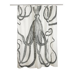 Thomas Paul Shower Curtain - Octopus - This hand screened octopus shower curtain brings one of the most mysterious creatures from the sea right to your giftee's bathroom.