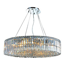 Worldwide Lighting - W83504C32 Cascade Chandelier 32 In. - 18 Light in Chrome - This 18-light Versailles Collection chandelier in Chrome finish and Clear crystal is a stunning addition to your home and is dressed with our 30% PbO Premier Crystal glass. Worldwide Lighting Corporation is a premier designer manufacturer and direct importer of fine quality chandeliers, surface mounts, and sconces for your home at a reasonable price. You will find unmatched quality and artistry in every luminaire we manufacture.