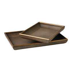 Studio A - Churchill Tray - Small - Faux Shagreen Leather Trays with Wood trim. Available in two sizes. Each size sold separately.