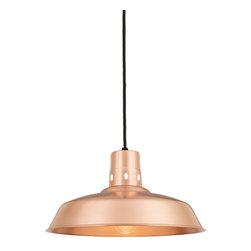 """THE BUCKEYE WAREHOUSE SHADE COPPER & BRASS CORD-HUNG CEILING LIGHT - 16"""" Buckeye shown in 48-Raw Copper Finish with Black Cord"""