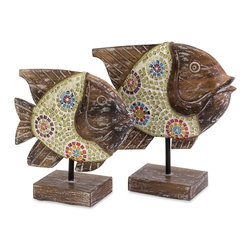 iMax - Kawela Mosaic Glass Fish, Set of 2 - This beautiful set of hand crafted Kawela fish have wood bodies and glass mosaic accents. Add a bohemian coastal vibe instantly with this tropical set of two.