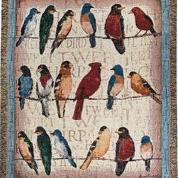 `Usual Suspects` Birds on Wire Tapestry Throw Blanket 50 Inches X 60 Inches - This multicolored woven tapestry throw blanket is a wonderful addition to the decor of any bird lover. Made of cotton, the blanket measures 50 inches wide, 60 inches long, and has approximately 1 1/2 inches of fringe around the border. The blanket features a print of 3 rows of birds perched on wires. Care instructions are to machine wash in cold water on a delicate cycle, tumble dry on low heat, wash with dark colors separately, and do not bleach. This comfy blanket makes a great housewarming gift that is sure to be loved.
