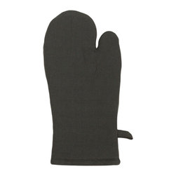 Bambeco Tiburon Organic Mitt in Charcoal - ?Bring a little eco-chic into the everyday with our Tiburon Organic Oven Mitt. Woven in a classic herringbone design from 100% organic cotton, this oven mitt is crafted via sustainable textile production methods and colored with environmentally friendly, water-based dyes. Big enough for all hand sizes with a hang loop for convenient storage, it's padded for your safety with a lavishly smooth quilted interior.Available colors: Charcoal, taupe, redDimensions: 6.5 x 12.5