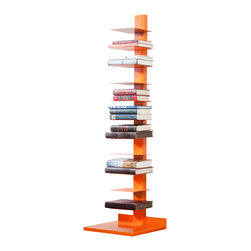 Holly & Martin - Holly & Martin Heights Book/Media Tower-Orange - Minimalist design meets invigorating color in this artsy media tower, perfect in smaller spaces or anywhere you need a vertical piece. Store your books, magazines, movies or knickknacks on the eleven shelves. The bright painted finish and powder-coated metal will last you for years.
