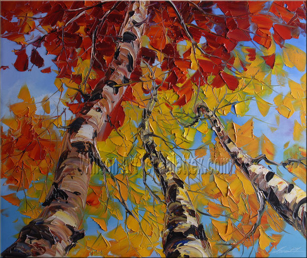 Traditional Artwork Original Textured Palette Knife Landscape Painting by Willson Art