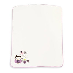 Baby's First By Nemcor - Baby's First by Nemcor Plum Owl Meadow Blanket - A sweet owl and flowers decorate this incredibly soft blanket. It's part of the Baby's First Plum Owl Meadow crib bedding.