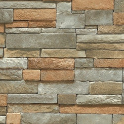 Blue Mountain - Sf084801 Faux Stone Brick Wallpaper - Faux stone wallpaper in a grey and beige tone. Pattern SF084801 (aka SR026208, BC1581943) is a pre pasted heavy vinyl wallpaper that has texture and looks real! The Surface Illusions wallpaper book is a collection of faux stone, brick and wood designs for your home or office.