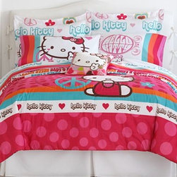 Hello Kitty Comforter - Hello Kitty fans, rejoice! This Hello Kitty comforter will brighten up any kids' room. It features peace symbols, hearts and dots in fun bold colors.