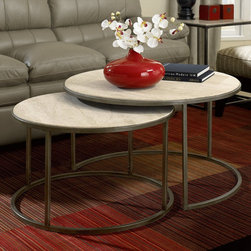 """Hammary - Modern Basics Round Cocktail Table in Natural Travertine/Textured Bronze Finish - Spice up your living room with a collection that offers style for modern living. This occasional table collection consists of a combination of Natural Travertine and Bronze metal for a sleek, contemporary look. Featuring simple silhouettes of circles, rectangles, and squares, you can be sure that this collection can fit in with just about any style decor. Simple, straight lines make up the leg supports, while a simple palette of travertine makes up the table tops. What a wonderful way to bring in an element of modern living.; Modern Basics Collection; Finish: Natural Travertine/Textured Bronze; One Nest Table Dia 30 H17. 5; Weight: 88 lbs.; Dimensions: 36""""W x 36""""D x 20""""H"""