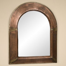 Arched Lightly Hammered Copper Mirror - Antique Copper - Featuring a rustic, lightly hammered frame with brass accents, this Antique Copper mirror will add classic style to nearly any room.
