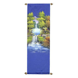 Oriental-Décor - Twin Waterfalls - The Orient is home to some of the most beautiful scenery in the world. This striking piece is a replication of a village set deep in the countryside of Thailand. Hang it anywhere for superb decoration.