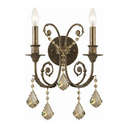 Crystorama - 2 Lights Wall Sconce Adorned with Polished Crystal - The warm glow of the Golden Teak crystal brings out the gold brush strokes found in the hand painted English Bronze finish.