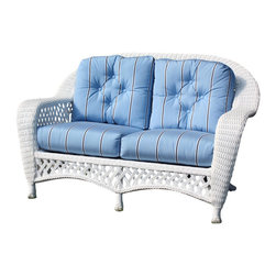 Wicker Paradise - White Outdoor Wicker Loveseat: Montauk Collection - A White Outdoor Wicker Loveseat is an all-weather white wicker piece for great times. It's made to seat 2 and you and your company will want to spend hours outdoors on this attractive conversation starter. The hand-woven wicker details are perfect accents for your favorite gathering spot in the house. Bring your covered porch or total outdoor deck, porch, or patio to life with this soothing white outdoor wicker loveseat!   Enjoy life outdoors, too, with low-maintenance wicker on an aluminum frame. Just leave the loveseat uncovered or covered for extra protection and the resin outdoor wicker takes care of itself. To preserve your wicker after each season, simply apply a solution of mild dishwashing soap and warm water, gently hose the wicker frame, and let dry in the sun. And voila! It's just as bright as the 1st day you bought this amazing outdoor wicker loveseat.     White Outdoor Wicker Loveseat: Montauk Style   White outdoor wicker loveseat comes fully-assembled on aluminum frame  Natural or Black wicker color also available  Sold with 2 back and 2 bottom cushions for ultimate support  Complete the set with other pieces from this Montauk collection  Many fabric choices so you can have fun decorating your area