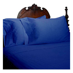 SCALA - 1000Tc Stripe Queen Size Egyptian Blue Color Sheet Set - We offer supreme quality Egyptian Cotton bed linens with exclusive Italian Finishing. These soft, smooth and silky high quality and durable bed linens come to you at a very low price as these come directly from the manufacturer. We offer Italian finish on Egyptian cotton, which makes this product truly exclusive, and owner's pride. It's an experience and without it you are truly missing the luxury and comfort!!