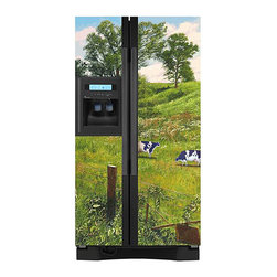 Appliance Art - Appliance Art's Country Cow Refrigerator Cover - Add new life to your kitchen with this country cow themed magnetic refrigerator cover. These refrigerator covers are easily installed by simply sticking them to the surface.