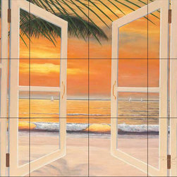 The Tile Mural Store (USA) - Tile Mural - Dr-Doorway To Paradise - Kitchen Backsplash Ideas - This beautiful artwork by Diane Romanello has been digitally reproduced for tiles and depicts a windowbox with an ocean background.  Beach scene tile murals are great as part of your kitchen backsplash tile project or your tub and shower surround bathroom tile project. Waterview images on tiles such as tiles with beach scenes and sunset scenes on tiles.  Tropical tile scenes add a unique element to your tiling project and are a great kitchen backsplash  or bathroom idea. Use one or two of our beach scene tile murals for a wall tile project in any room in your home for your wall tile project.