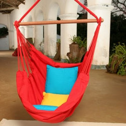 Brazilian Cotton Solid Colors Hammock Chair - Brighten Up Your DaySome time spent in the Brazilian Cotton Fabric Hammock Chair is sure to lift your spirits no matter what color you choose. This 100% cotton cloth fabric chair is a soft and comfortable hideaway where you can relax and read watch the clouds float by or enjoy your favorite video. Experience this hammock chair's incredibly cozy closed-weave fabric indoors or out! The hardwood spreader bar is treated to resist the elements. Pillow not included. Order this chair and do yourself a favor!