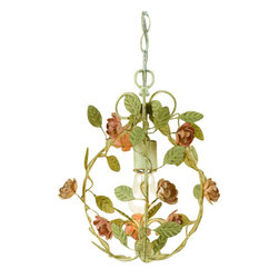 "AF Lighting - AF Lighting 7051-1H Elements Series ""Ramblin' Rose"" Mini Chandelier with Cut Met - AF Lighting 7051-1H Elements Series ""Ramblin' Rose"" Mini Chandelier with Cut Metal Roses, Finished in Antique CreamAF Lighting 7051-1H Features:"