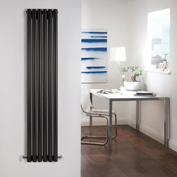 Hudson Reed - High Gloss Black Tall Vertical Designer Radiator 59 x 14 & Valves - Six circular vertical tubes, finished in superior high gloss black (RAL9005), make this radiator a striking design feature of any contemporary living space. The large diameter tubes deliver an amazing heat output of 1047 Watts (3573 BTUs).Stylish and effective, this modern classic connects directly into your domestic central heating system by means of the radiator valves included . High Gloss Black Vertical Tube Designer Radiator 59 x 14 Features:  Dimensions (H x W x D): 59 (1500mm) x 14 (354mm x 3.25 (83mm) Output: 1047 Watts (3573 BTUs) Maximum Projection from Wall: 5.25 (133mm) Pipe centres with valves: 17.3 (440mm) Number of columns: 6 Circular columns Fixing Pack Included (see image above) Designed to be plumbed into your central heating system Suitable for bathroom, cloakroom, kitchen etc. Please Note: Radiator and Valves are shipped from two separate warehouses  Please Note: Our radiators are designed for forced circulation closed loop systems only. They are not compatible with open loop, gravity hot water or steam systems.