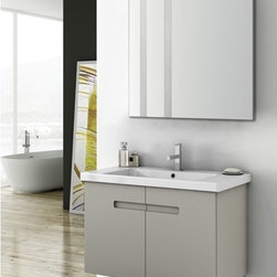 ACF - 34 Inch Bathroom Vanity Set - Set Includes:. Vanity Cabinet (2 Doors). High-end fitted ceramic sink. Wall mounted vanity mirror. Vanity Set Features . Vanity cabinet made of engineered wood. Cabinet features waterproof panels. Vanity cabinet in PVC glossy white, PVC matt canapa finishes. Vanity cabinet features two easy-to-open doors. Chrome door handles elegantly completes vanity surface. Faucet not included. Perfect for modern bathrooms. Made and designed in Italy. Includes manufacturer 5 year warranty.
