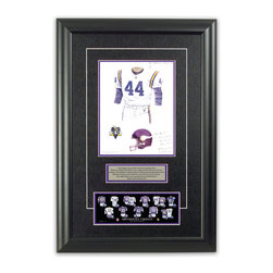 "Heritage Sports Art - Original art of the NFL 1995 Minnesota Vikings uniform - This beautifully framed piece features an original piece of watercolor artwork glass-framed in an attractive two inch wide black resin frame with a double mat. The outer dimensions of the framed piece are approximately 17"" wide x 24.5"" high, although the exact size will vary according to the size of the original piece of art. At the core of the framed piece is the actual piece of original artwork as painted by the artist on textured 100% rag, water-marked watercolor paper. In many cases the original artwork has handwritten notes in pencil from the artist. Simply put, this is beautiful, one-of-a-kind artwork. The outer mat is a rich textured black acid-free mat with a decorative inset white v-groove, while the inner mat is a complimentary colored acid-free mat reflecting one of the team's primary colors. The image of this framed piece shows the mat color that we use (Purple). Beneath the artwork is a silver plate with black text describing the original artwork. The text for this piece will read: This original, one-of-a-kind watercolor painting of the 1995 Minnesota Vikings uniform is the original artwork that was used in the creation of this Minnesota Vikings uniform evolution print and tens of thousands of other Minnesota Vikings products that have been sold across North America. This original piece of art was painted by artist Bill Band for Maple Leaf Productions Ltd. Beneath the silver plate is a 3"" x 9"" reproduction of a well known, best-selling print that celebrates the history of the team. The print beautifully illustrates the chronological evolution of the team's uniform and shows you how the original art was used in the creation of this print. If you look closely, you will see that the print features the actual artwork being offered for sale. The piece is framed with an extremely high quality framing glass. We have used this glass style for many years with excellent results. We package every piece very carefully in a double layer of bubble wrap and a rigid double-wall cardboard package to avoid breakage at any point during the shipping process, but if damage does occur, we will gladly repair, replace or refund. Please note that all of our products come with a 90 day 100% satisfaction guarantee. Each framed piece also comes with a two page letter signed by Scott Sillcox describing the history behind the art. If there was an extra-special story about your piece of art, that story will be included in the letter. When you receive your framed piece, you should find the letter lightly attached to the front of the framed piece. If you have any questions, at any time, about the actual artwork or about any of the artist's handwritten notes on the artwork, I would love to tell you about them. After placing your order, please click the ""Contact Seller"" button to message me and I will tell you everything I can about your original piece of art. The artists and I spent well over ten years of our lives creating these pieces of original artwork, and in many cases there are stories I can tell you about your actual piece of artwork that might add an extra element of interest in your one-of-a-kind purchase."