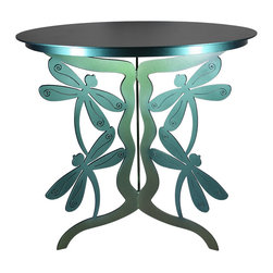 Cricket Forge - Dragonfly Patio Table - The Dragonfly Patio Table is a unique addition to any collection. The playful dragonflies dance along the three legs of the table adding a surprising element to this patio table. As always, the quality of design and construction is unmatched so you can rest assured that your table will be exactly what you are looking for. Choose from Color Shift Paint in greens and blues or our signature Verdi color.