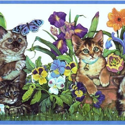 York Wallcoverings - Blue Kittens And Flowers Wallpaper Border - Wallpaper borders bring color, character and detail to a room with exciting new look for your walls - easier and quicker than ever.
