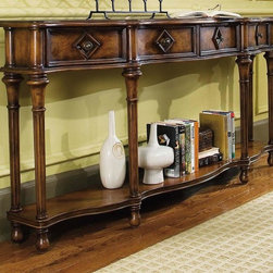 Hooker Furniture - 72 in. Hall Console Table - Four drawers. Turned legs joined by shaped shelf. Adjustable levelers. Bun feet. Made from hardwood solids with cherry and chestnut burl veneers. Clearance at bottom height: 3.75 in.. Floor to top of shelf height: 5.13 in.. Width at sides of top: 8.78 in.. Center drawers inside: 14.13 in. W x 7 in. D x 4.38 in. H. RSF and LSF drawers inside: 13.25 in. W x 4.75 in. D x 4.38 in. H. Shelf open area: 68.5 in. W x 11 in. D x 21.25 in. H. 72 in. W x 12 in. D x 34 in. H. Assembly InstructionThe long, narrow silhouette of this piece, with its graceful shape, makes this a statement piece for a narrow foyer.