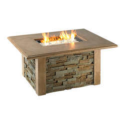 The Outdoor Greatroom - Sierra Rectangular Chat Height Fire Pit With Table With Rectangular Burner - The functional and durable Sierra fire pit table is the perfect addition to any outdoor space. Faux Stack Stone gives a realistic stone finish while a Supercast top and corner pieces add an element of charm and sophistication. The combination of fire and stone is timeless. This fire pit table comes with a matching Supercast buner cover that results in a functional, beautiful gathering place for family and fiends. The rectangular 24x12 inch stainless steel Crystal Fire Burner will truly light up the night and add warmth to your outdoor space. These burners are made from high quality stainless steel and include tempered, tumbled glass, an LP hose and regulator, a metal flex hose, a gas valve, and a push button sparker. With just a push of a button, a beautiful clean-burning fire appears atop a bed of highly reflective Diamond glass fire gems. All burners are shipped with orifices for LP or NG fuels and are UL approved for safety and quality. Adjust the flame height to your desired setting and enjoy the magic and ambience of a warm glowing fire.