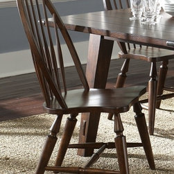 Liberty Furniture - Cabin Fever Windsor Back Side Chair - Set of 2 - Set of 2. Nylon glides. Warranty: One year. Made from select hardwoods and oak veneers. Bistro brown finish. Made in Malaysia. 22 in. W x 26 in. D x 40 in. H (51 lbs.)