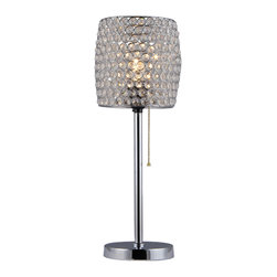 Warehouse of Tiffany - Cleopatra Purple Crystal Table Lamp - This lamp features a lamp shade accented by acrylic crystal embellishments which allows the light to sparkle through and create a beautifully mysterious atmosphere. This 1-light lamp is finished with a pull chain for easy on and off.Setting: IndoorsFixture finish: ChromeShades: Acrylic crystal accentsNumber of lights: 1Requires one (1) 100-watt bulb (Not included) Dimensions: 20 inches high x 8 inches in diameterThis fixture does need to be hard wired. Professional installation is recommended.CSA Listed, ETL Listed, UL Listed