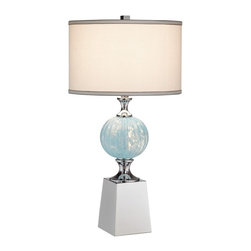 Kathy Ireland - Kathy Ireland Atlas Table Lamp Multicolor - 87-7517-26 - Shop for Lamps from Hayneedle.com! For understated charm in your bedroom work-area or sitting room choose the Kathy Ireland Atlas Table Lamp. Its pedestal-style base features chrome-finished metal accents and a beautiful blue glass orb body. The lamps requires only a single 150W light-bulb to provide illumination controlled with an On/Off rotary switch on the socket. The lamp comes with a matching drum-style shade made from white linen with gray soutage trim on the top and bottom. A detail accent for any traditional-style room this lamp makes a perfect complement to any antique furniture.About Kathy Ireland Home by Martin FurnitureA well-known industry-leading manufacturer of home office and home entertainment furniture Kathy Ireland Home by Martin exemplifies Kathy Ireland's mission statement: Finding solutions for families especially busy moms. As Chief Designer Kathy collaborates with Kathy Ireland Home by Martin and Kathy Ireland Office by Martin on the design and marketing of each and every furniture collection. Each collection is designed and constructed with four words in mind: fashion quality value and safety.About Martin FurnitureMartin Furniture was founded in 1980 by Gil Martin in the San Diego suburb of El Cajon. Martin started the company in his garage with $400 a Craftsman table saw and the business knowledge he gained from working for defense contractor General Dynamics. Today Martin Furniture specializes in American-made and imported office and home entertainment furniture. In 2003 it teamed up with Kathy Ireland's design company creating furniture solutions for families. Boasting solid growth in sales over the past 25 years Martin Furniture's success can also be measured by the satisfaction of its customers. Its operation now includes among other resources a 250 000 square-foot facility in San Diego. In addition to the bookshelves found here Martin has a vast collection of flooring rugs lighting wall art accessories home office and general home furniture for all budgets.