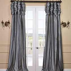 Platinum Ruched Faux Solid Taffeta Curtain - We've taken our popular Faux Silk Taffeta panels and added a ruched header valance creating the most luxurious, over the top style in window treatments out there. This style was designed and meant to be stationary and used as decorative panels to frame out your window.