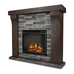 Avondale Gray Ledge stone Electric Firebox & Mantel - The Avondale Mantel features stunningly realistic barn wood and stacked ledge stone texture, creating a beautiful built-in look to compliment any room. Real Flames Cast Mantels are crafted from a lightweight, fiber-enforced concrete and backed with an internal steel frame for an enduring presence. For safety, this unit must be anchored to a wall using the included hardware. The Vivid Flame Electric Firebox plugs into any standard outlet for convenient set up. The features include remote control, programmable thermostat, timer function, brightness settings and ultra bright Vivid Flame LED technology.