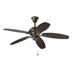 """Progress Lighting - Progress Lighting P2533-20 AirPro 54"""" Outdoor Ceiling Fan - 54"""" 5-Blade Patio Fan with Toasted Oak blades and an Antique Bronze finish."""