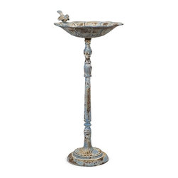 iMax - Santon Blue Birdbath - Large - This large bird feeder features a rustic, aged finish in pale blue. Place in the garden with some bird food to provide a delightful treat.