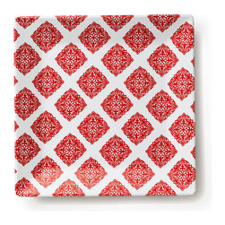 Q Squared NYC - Diamond Red Dinner Plates, Set of 6 - Diamond Red dazzles with its rich color and classic design.
