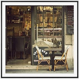 "Cindy Taylor Framed Print, Bon Appetit, Mat, 48 x 48"", Black - This image is a feast for the eyes: the stone facade, a chalkboard menu, worn leather booths, colorful bottles, sparkling glasses and shining plates - and a rare find in a busy and popular Parisian cafe: an available table right on the sidewalk. 18"" square 25"" square 48"" square Alder wood frame. Black or white painted finish; or espresso stained finish. Beveled white mat is archival quality and acid-free. Available with or without a mat. {{link path='/shop/accessories-decor/pb-artist-gallery/artist-gallery-cindy-taylor/'}}Get to know Cindy Taylor.{{/link}}"