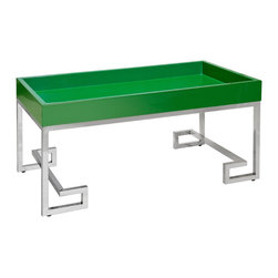 Worlds Away - Worlds Away Conrad Green Lacquer Tray w/ Stainless Steel Base - Lacquer tray with stainless steel Greek key base.