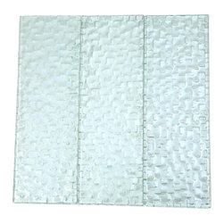 Terrene Snow Cap 4x12 Glass Tile - TERRENE SNOW CAP 4x12 GLASS TILE This striking glass can make any room aesthetically appealing. The wavy finish brings a distinctive design and will add a nice touch for a contemporary and modern room. This tile is great to use for the bathroom, kitchen or pool installation. Chip Size: 4x12 Material: Glass Color: Platinum Finish: Polish Sold by the Square Foot - 3 loose 4x12 pieces Thickness: 3mm - Glass Tiles -