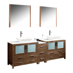 """Fresca - Fresca Torino Bathroom Vanity w/ Vessel Sink, Walnut, 84"""", Double Sink - Fresca is pleased to usher in a new age of customization with the introduction of its Torino line. The frosted glass panels of the doors balance out the sleek and modern lines of Torino, making it fit perfectly in either 'Town' or 'Country' décor. Available in the rich finishes of Espresso, Glossy White, Walnut and Light Oak, all of the vanities in the Torino line come with either a ceramic vessel bowl or the option of a sleek modern ceramic integrated sink. This version is with the vessel bowl(s)."""