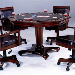 Hillsdale Furniture - Ambassador 5 Pc 2-in-1 Poker Dining Table Set - For residential use. Includes table and 4 arm chairs. Multi-functional. Flip top table. Vinyl chairs. Table: 52 in. Dia. x 32 in. H. Chairs: 23.75 in. W x 24 in. D x 38 in. HHillsdale Furniture takes your game room to a whole new level with our Ambassador game table and chairs. That allows for a dining surface on one side and a game surface complete with chip trays and drink holders on the other. Feel like checkers or chess? Take off the entire top, and you'll find a built in board.Also, you will sit at your new table in comfort on the upholstered back adjustable height, tilt, and castered arm chair. Finally,a collection that is not only functional and affordable, but attractive. The Ambassador features a rich Cherry finish, supple brown leather, a rectangle back chair and transitional design elements. This collection is the perfect way to turn your kitchen or dining room into an entertainment hot spot for friends, family and fun.