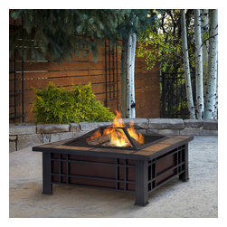 Real Flame - Real Flame Morrison Outdoor Fire Pit - Enhance the atmosphere of your outdoor living space with this mission inspired styling in a black finish and natural slate tile top for a unique design.