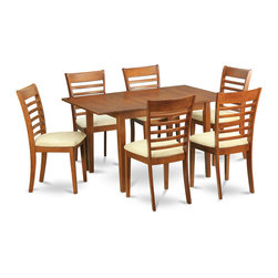 """East West Furniture - 7Pc Set Picasso Dining Table and 6 Milan Padded Seat Chairs - 7Pc Set Picasso Table with 12 in Butterfly Leaf and 6 Milan Padded Seat Chairs; These Picasso kitchen sets are beautifully crafted and rich with a warm saddle brown color.; This sleek, yet traditional dinette set contains no plastic, which makes it efficient and environmentally friendly.; The Picasso table & chairs each have a glossy finish, complete with subtle, perfectly beveled edges.; These dinette sets make a cozy addition to any kitchen or conventional dining room and provide seating for up to six people.; Choose between wood and microfiber upholstered seats depending on which table & chairs set fits your ktichen or dining room style.; Weight: 173 lbs; Dimensions: Table: 48 - 60""""L x 32""""W x 30""""H; Chair: 18""""L x 17.5""""W x 38""""H"""