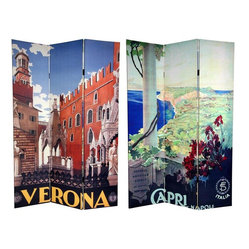 Oriental Furniture - 6 ft. Tall Double Sided Capri/Verona Room Divider - Beautifully inviting travel posters adorn each side of this breathtaking screen. The front is a rendering of the spectacular view of Capri Harbor from at the rotunda in the  Villa San Michelle . The back is an attractive graphic art print of the magnificent statues and architecture in the city of Verona. The subtle colors and compelling shapes of these unique commercial art prints provide attractive interior design elements for any room. The subtle colors and compelling shapes make this a perfect choice for a decorative accent or a focal point. This three panel screen has different images on each side, as shown.High quality wood and fabric covered room divider. Constructed with extra durable kiln dried Spruce wood frame panels, and covered top to bottom, front, back, and edges with tough stretched poly-cotton blend canvasTwo extra large beautiful art prints. Printed with fade resistant, high color saturation ink, creating two stunning, long lasting, vivid images. A powerful visual focal points for any roomAn amazingly inexpensive, practical, portable decorative accessory. Almost entirely opaque, the layers of canvas provide complete privacy. Easily block light from a bedroom window or doorwayGreat home decor accent for dividing a space, redirecting foot traffic, hiding unsightly areas or equipment, or for providing a background for plants or sculptures, or use to define a cozy, attractive spot for table and chairs in a larger roomPart of our series of vintage travel posters