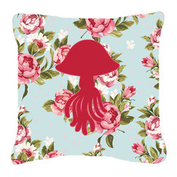 Caroline's Treasures - Jellyfish Shabby Chic Blue Roses Fabric Decorative Pillow Bb1089 - Indoor or Outdoor Pillow made of a heavyweight Canvas. Has the feel of Sunbrella Fabric. 14 inch x 14 inch 100% Polyester Fabric pillow Sham with pillow form. This pillow is made from our new canvas type fabric can be used Indoor or outdoor. Fade resistant, stain resistant and Machine washable.